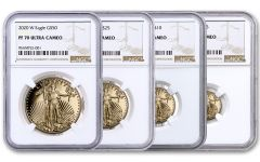 2020-W Gold American Eagle Proof 4-Coin Set NGC PF70 w/Brown Label