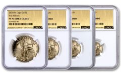 2020-W Gold American Eagle Proof 4-Coin Set NGC PF70 First Releases w/Gold Foil Label