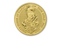 2020 Great Britain £100 1-oz Gold Queen's Beasts White Horse of Hanover BU