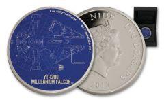 2017 Niue 2 Dollar 1-oz Silver Star Wars Ships Millennium Falcon Proof