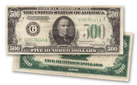1934 Us 500 Dollar Federal Reserve Note