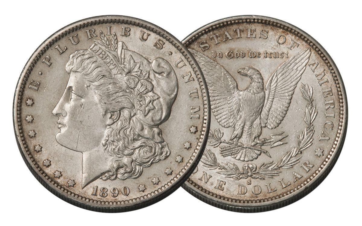 CHOICE AU 90/% Silver 1890-S Morgan Silver Dollar