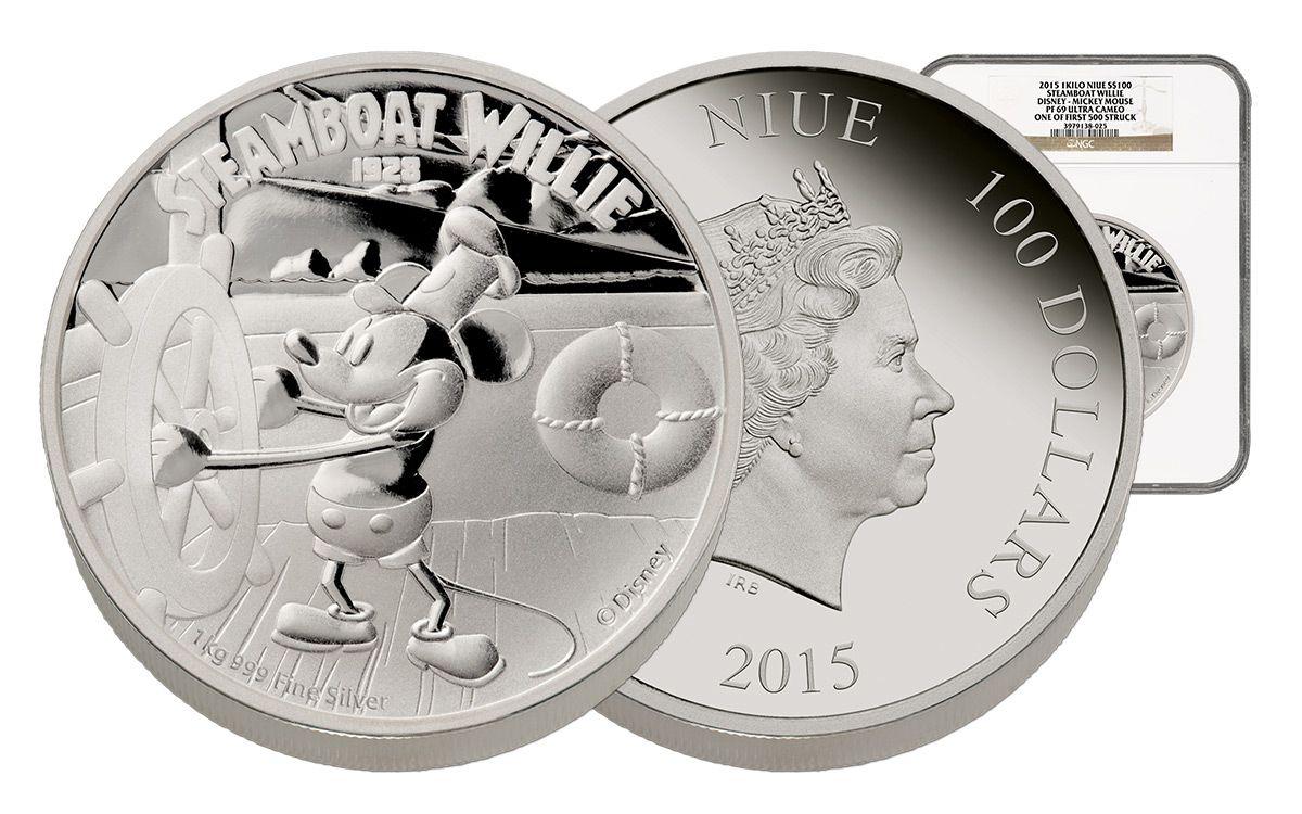 2017 1kg Silver Disney Steamboat Willie