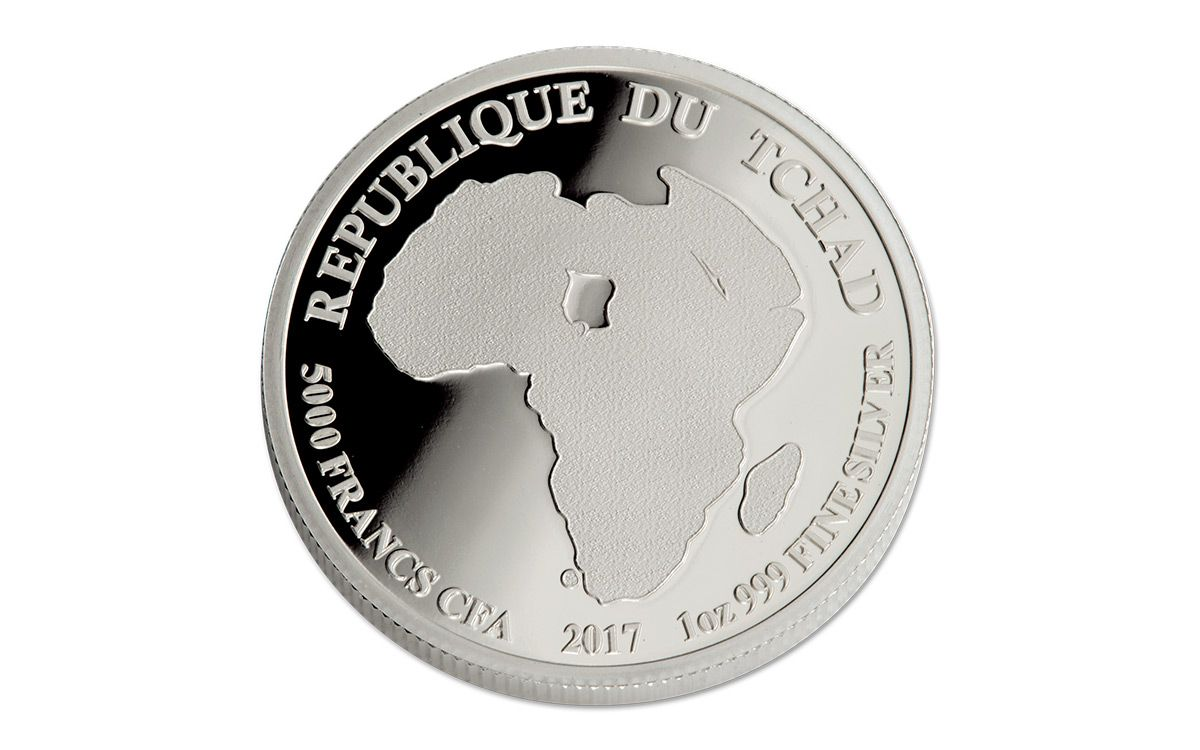 2017 1 oz Silver Chad African Lion 5000 Francs UNCIRCULATED SHIPS FREE