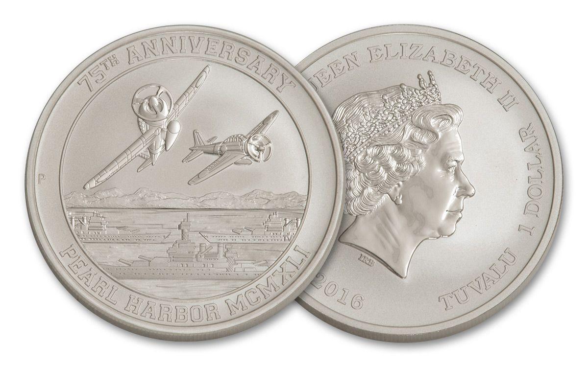2016 Perth Mint 1oz .9999 Silver Coin Pearl Harbor 75th Anniversary MINT CASE BU