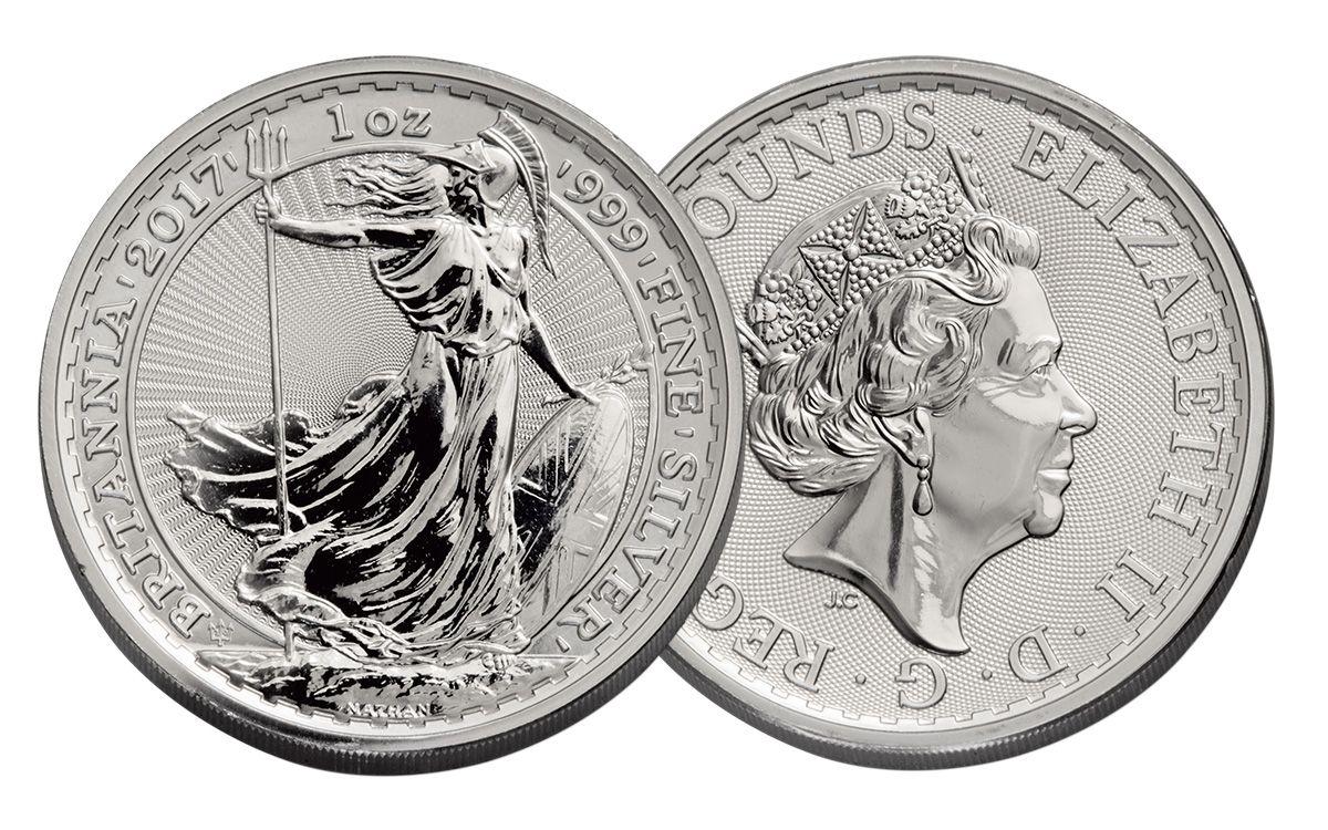 2017 GREAT BRITAIN BRITANNIA 2 POUNDS 1 OZ FINE SILVER COIN MINT UNCIRCULATED