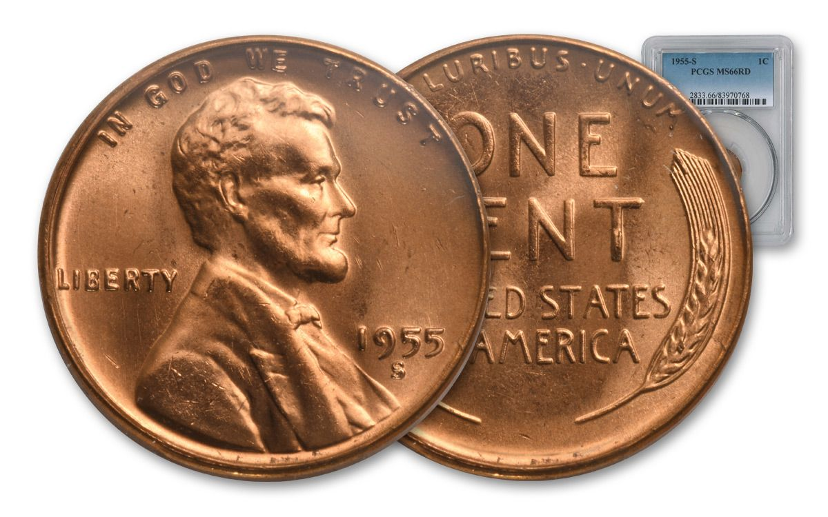 1955 Lincoln Cent Choice BU RD to RB