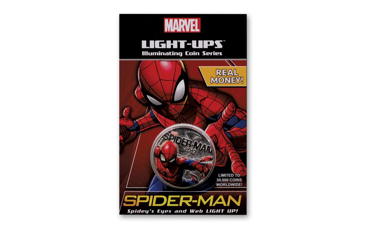 * 2017 Spider-Man Coin Lights Up Very Cool Real Figi Coin Only Two Available