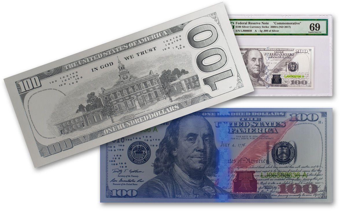Details about  /5 Gram Benjamin Franklin Silver Note Design Of $100 Dollar Bill .999 FS Note