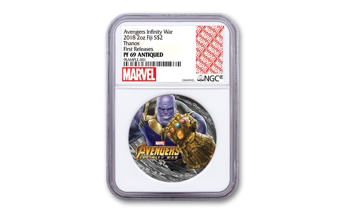 Fiji 2018 $2 Marvel Thanos Avengers Infinity War Antiqued 2 Oz Silver Coin