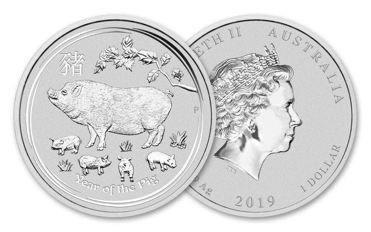 2019 1oz .9999 Fine Silver Australia Year of the Pig Colored Silver