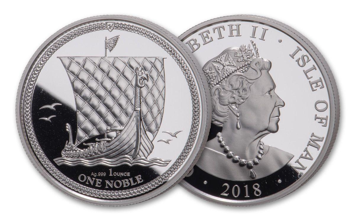 2018 Isle of Man 1 oz Silver Noble Bullion coin .999  Proof