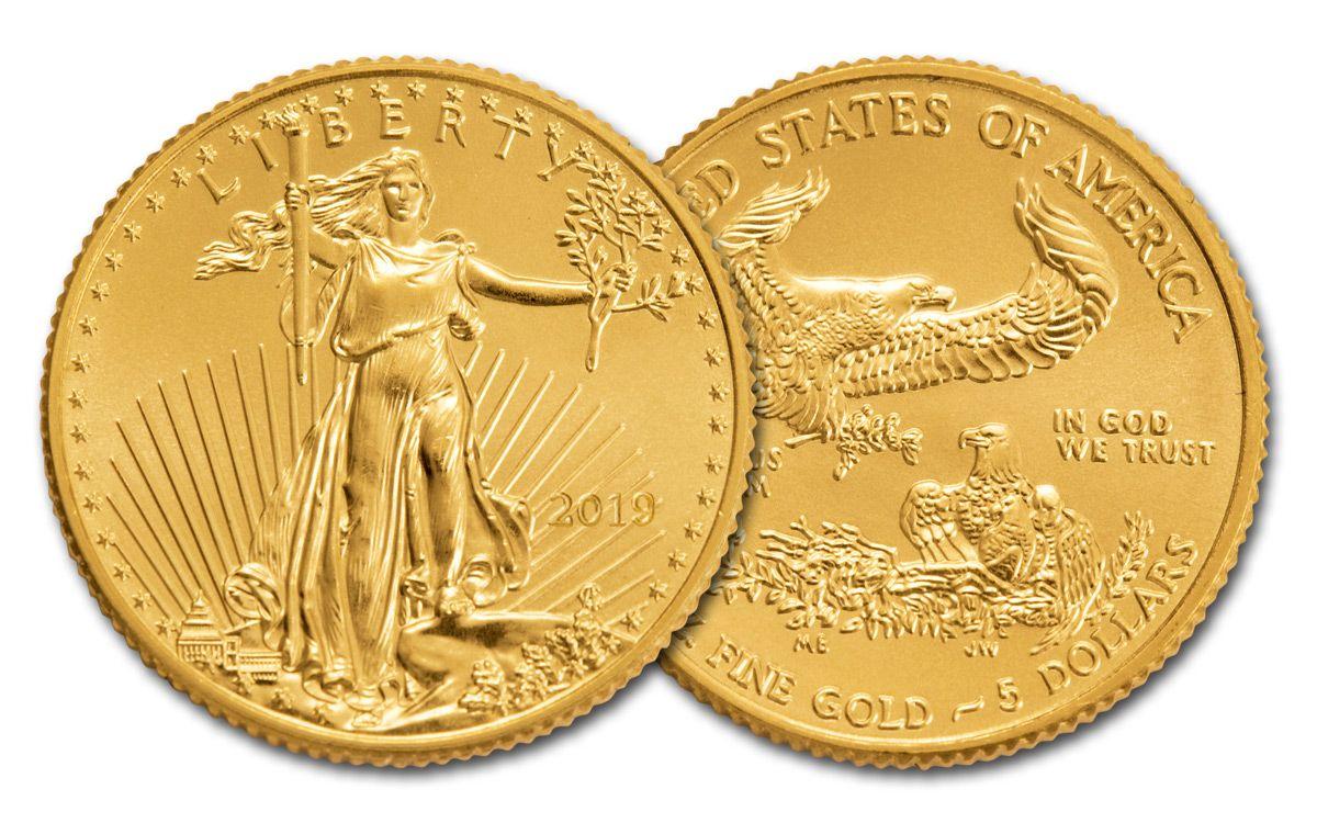 2019 5 Dollar 1 10 Oz Gold Eagle Bu
