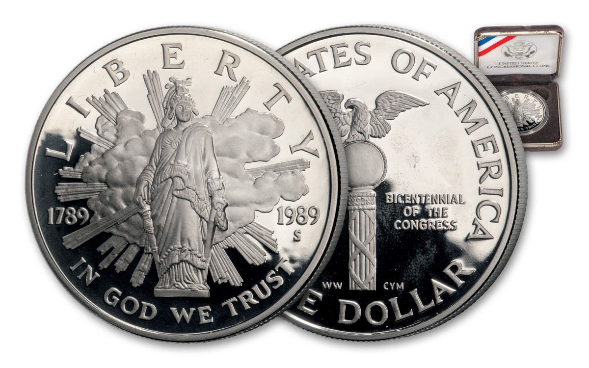 1989-S US Mint Proof Congressional Bicentennial Silver Dollar Commemorative Coin