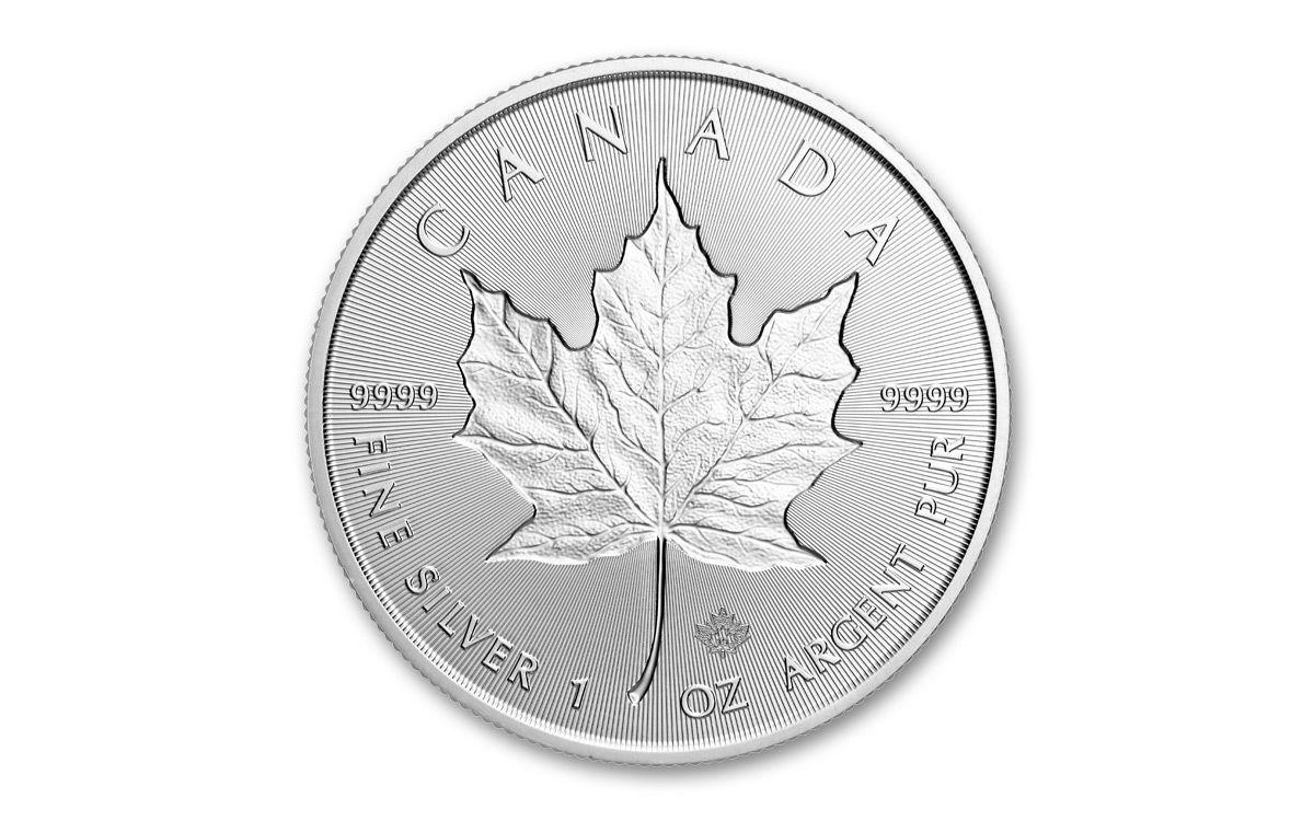 5 1 Oz Silver Maple Leaf Incuse Bu