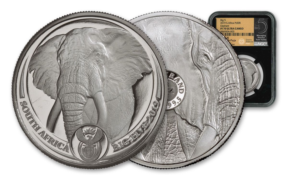NGC PF69 2019 1 OZ SOUTH AFRICA BIG FIVE ELEPHANT .999 SILVER PROOF COIN