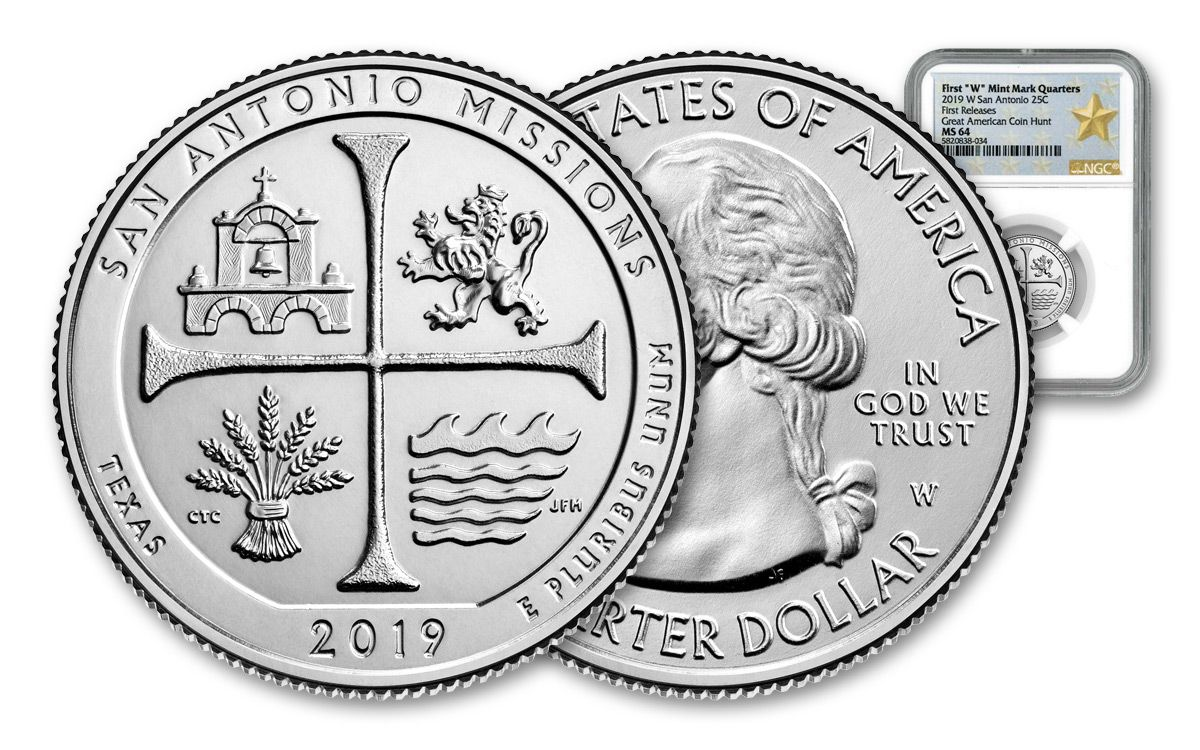 2019 W San Antonio Missions National Park Quarter certified MS 64 by NGC!