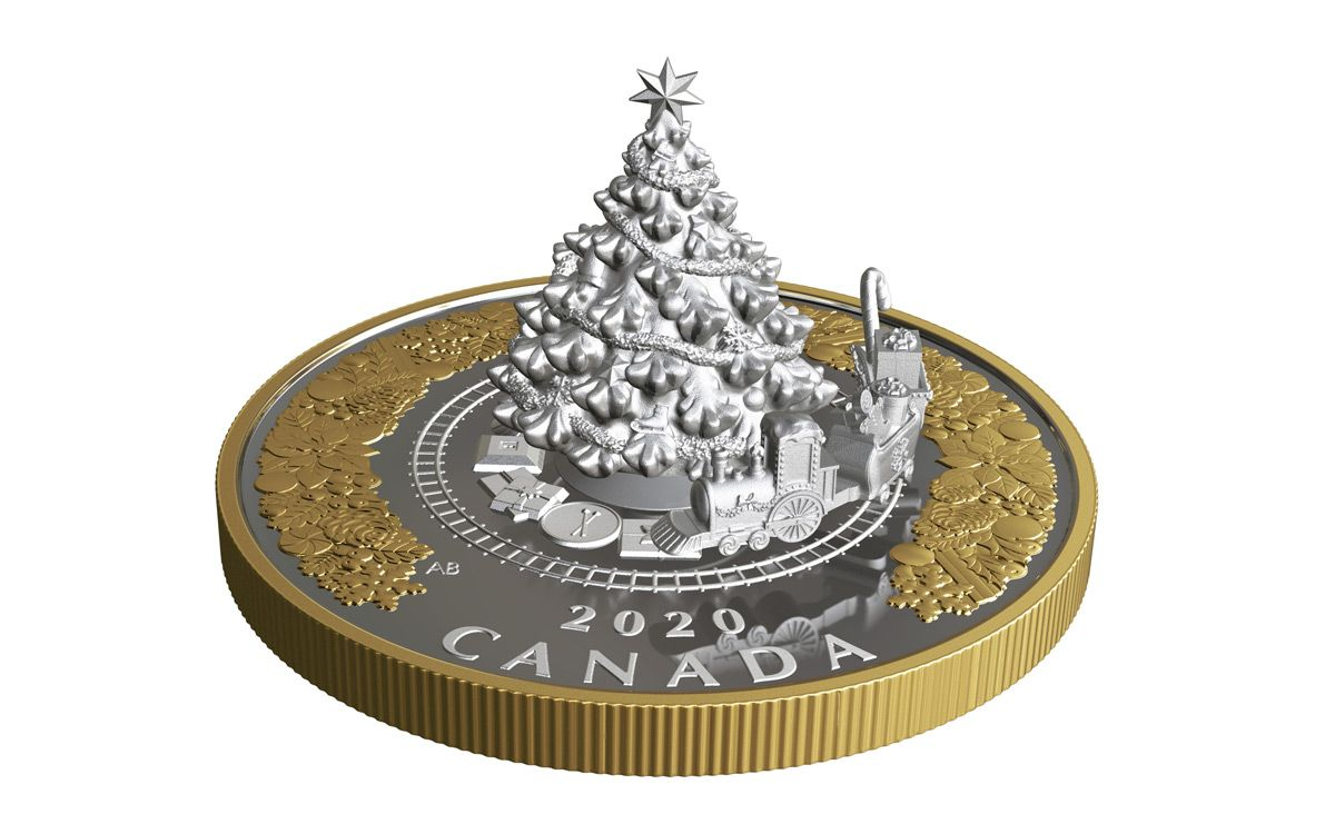 Coins For Christmas 2020 2020 Canada $50 5 oz Silver Christmas Tree Train Gilded Proof