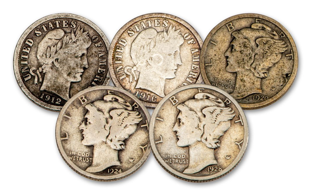 1928 Silver Birth year set 5 coins other years also
