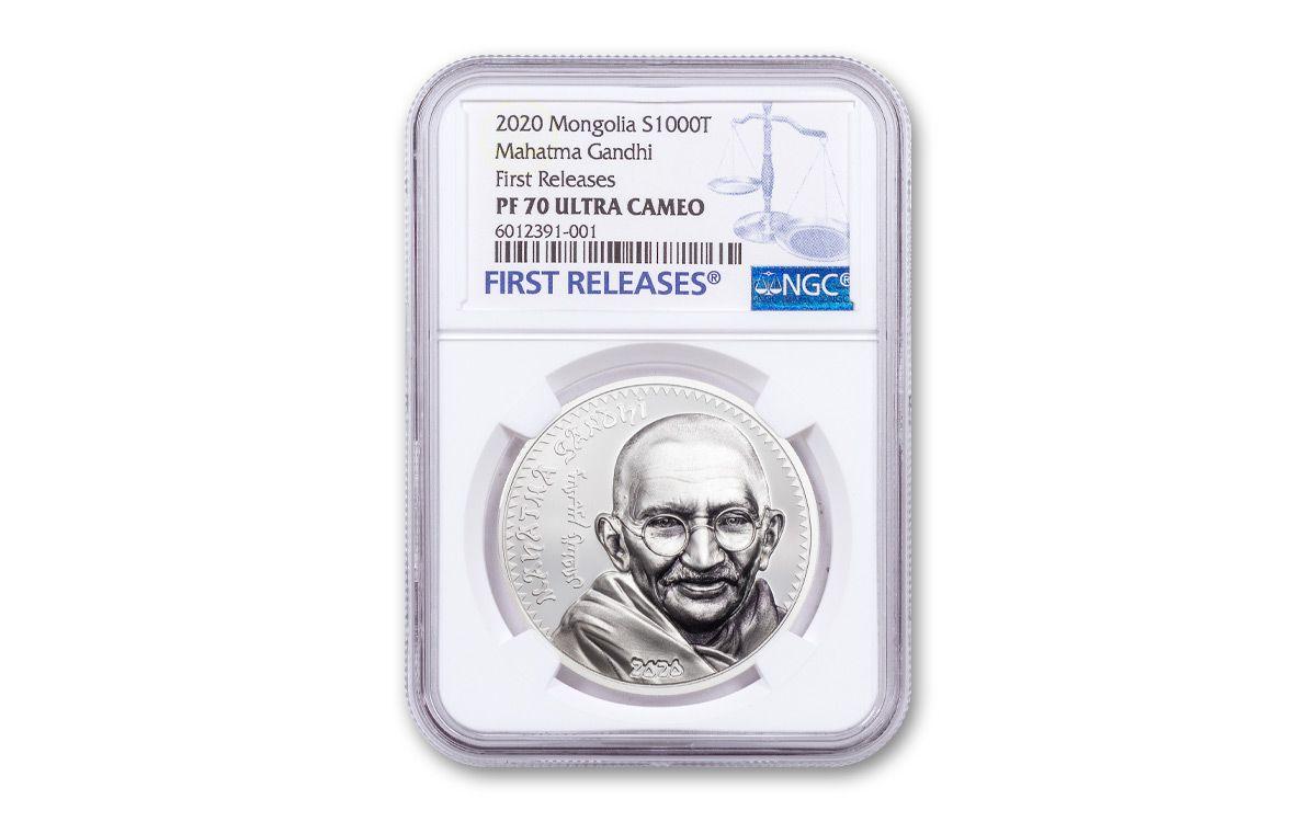 999 Fine Silver Mongolia 2020 Mahatma Gandhi Silver Coin 1oz