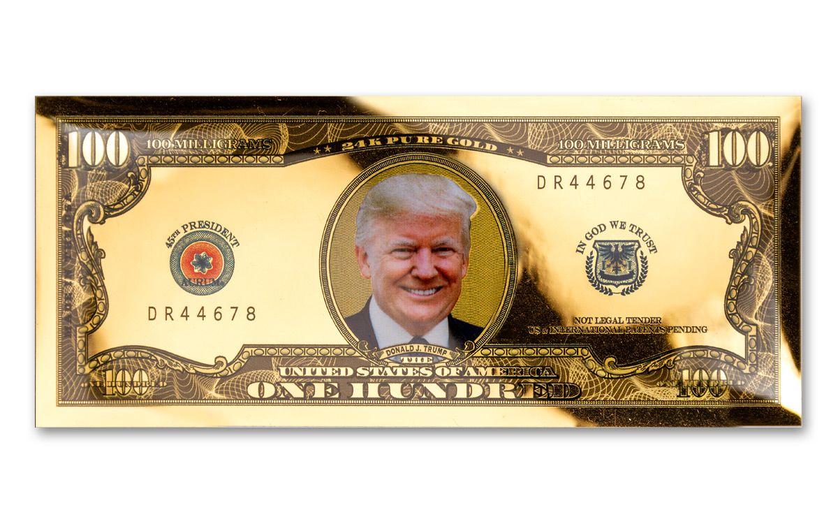 2 President Donald Trump Silver $100 Dollar Bills Collectable 2020 Money