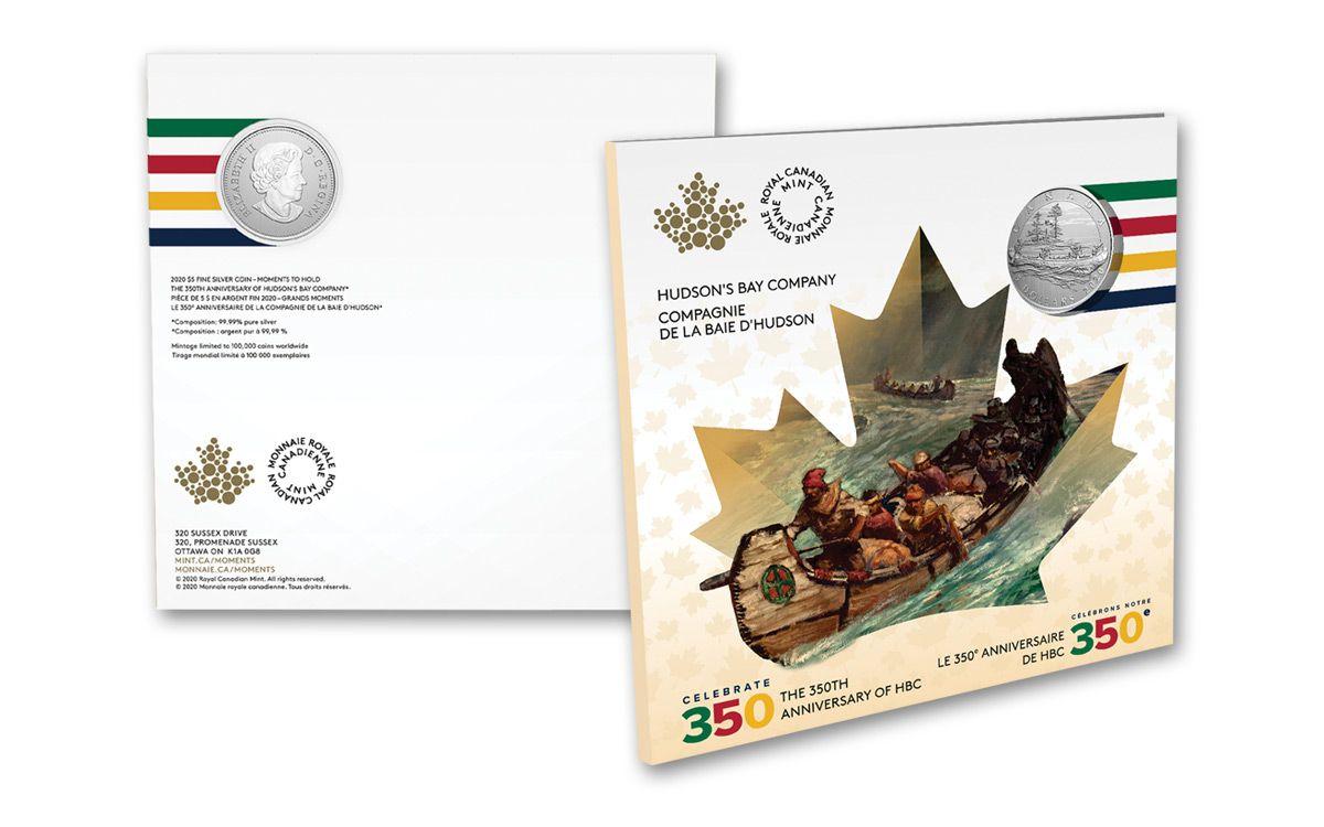 Hudson/'s Bay Company $5 Pure Silver Coin 2020 350th Anniversary Canada