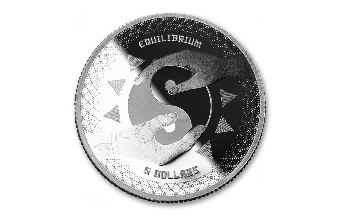 2018 1 oz Silver Coin .999 $5 NZD Tokelau Equilibrium BU In Capsule