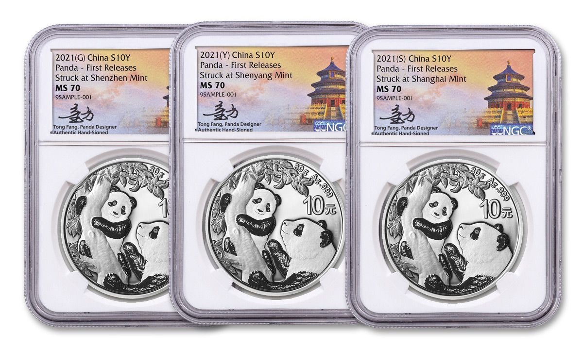 First Releases, Red NGC Box NGC MS70 2021 China 30g Silver Panda Coin