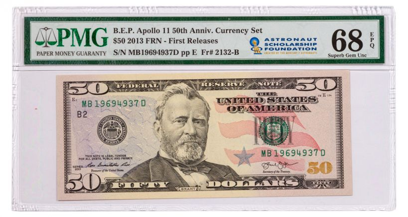 2019 $50 Apollo 11 50th Anniversary Currency Set PMG 68 First Releases w/ASF Label