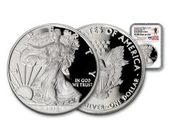 2018-W 1 Dollar 1-oz Silver Eagle NGC PF70UCAM Early Releases Travis Mills Signed