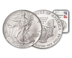 1993 $1 1-oz Silver American Eagle NGC MS70 - Mercanti Signed Label