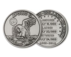 Apollo 11 Robbins Medal 1-oz Silver with Space Flown Alloy Antiqued - 50th Anniversary Commemorative