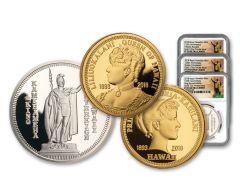 2018 Royal Hawaiian Mint Gold & Silver 3-Piece Set NGC PF70UC Kingdom of Hawaii 125th Anniversary