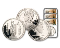 2018 Royal Hawaiian Mint 1-oz Silver 3-Piece Set NGC Gem Proof Kingdom of Hawaii 125th Anniversary