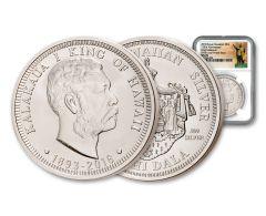 2018 Royal Hawaiian Mint 1-oz Silver King Kalakaua I NGC MS70 Kingdom of Hawaii 125th Anniversary