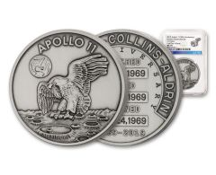 Apollo 11 Robbins Medal 1-oz Silver with Space Flown Alloy NGC MS70 First Day of Issue - 50th Anniversary Commemorative