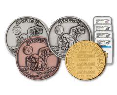 Apollo 11 Robbins Medal 4-Piece Set NGC PF70UC/MS70 - 50th Anniversary Commemorative