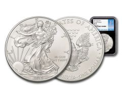 2019 $1 1-oz Silver American Eagle NGC MS70 First Day of Issue - Black Core