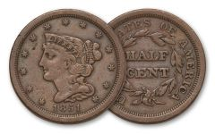 1840-1857 Half Cent Braided Hair VF