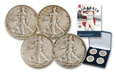 1936-1939 Silver Walking Liberty DiMaggio 4-Coin Set XF