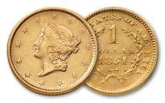 1849-1854 1 Dollar Gold Liberty Type I BU