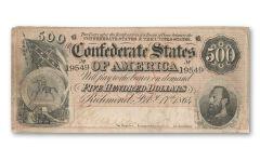 1864 500 Dollar Stonewall Jackson Confederate Note Fine