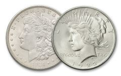 1921-1922 Morgan Silver Dollar and Peace Dollar Set - 2PC