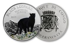2013 Congo 1000 Francs CFA Silver Black Leopard Proof