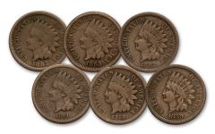 1859-1864 1 Cent Indian Head G-VG 6pc Set