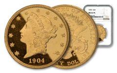 1904-P $20 Gold Liberty Type III NGC MS62 Proof-Like