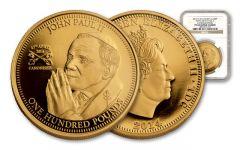 2014 Tristan Da Cunha £100 1-oz Gold Pope John Paul II NGC PF69UC