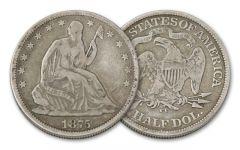 1875-1877-CC 50 Cent Seated Liberty Fine