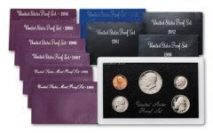 1980-1989 U.S. Proof Set 80's Collection 10pc