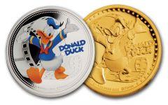 2014 Niue 1-oz Gold & Silver Disney Donald Duck NGC PF70UC 2-Piece Set